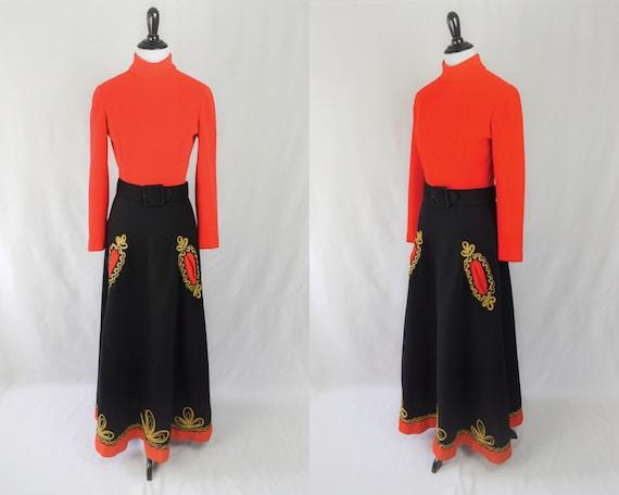 1960s Embroidered Folk Maxi Dress // 60s Bohemian