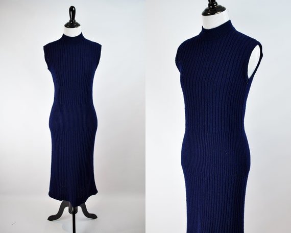 1940s Ribbed Nubby Knit Pencil Dress // 1940s Roya