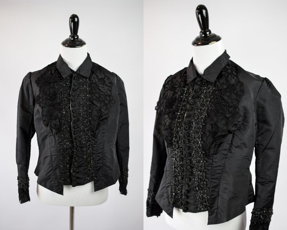 1880s Victorian Mourning Beaded Bodice // Antique