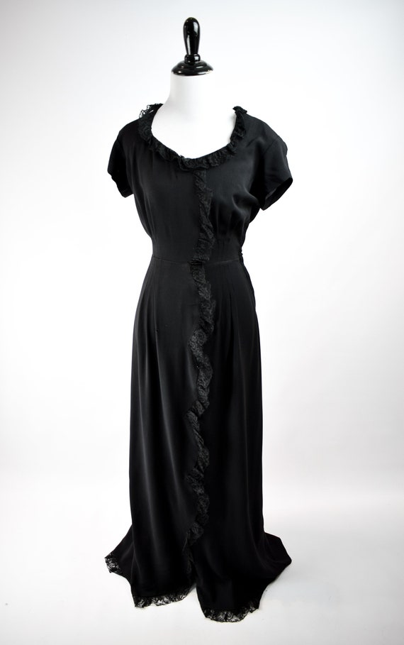 1940s Black Lace Trim Gown // Vintage 1940s Black… - image 2