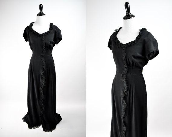 1940s Black Lace Trim Gown // Vintage 1940s Black