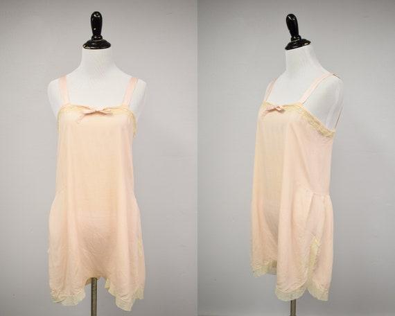1920s Pale Pink Silk Step-In // Vintage Antique 19