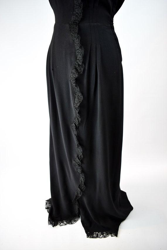 1940s Black Lace Trim Gown // Vintage 1940s Black… - image 9