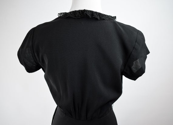 1940s Black Lace Trim Gown // Vintage 1940s Black… - image 8