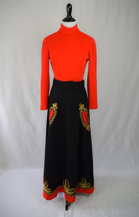 1960s Embroidered Folk Maxi Dress // 60s Bohemian… - image 2