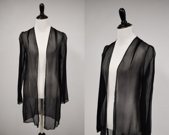 1930s Black Sheer Silk Georgette Duster Jacket //