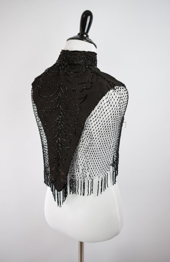 1890s Victorian Mourning Jet Beaded Mantel Cape /… - image 5
