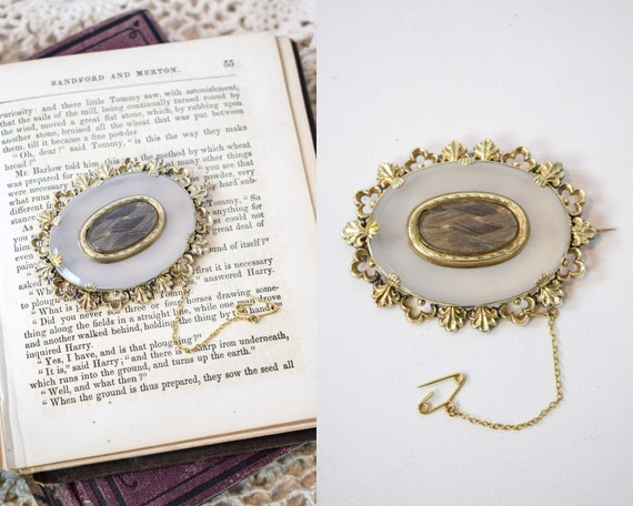 1870s Victorian Mourning 9K Gold & Chalcedony Hair