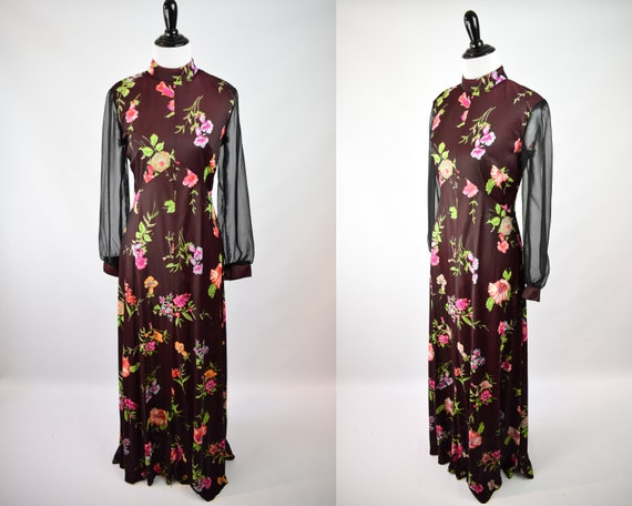 1960/70s Sheer Sleeve Floral Maxi Dress // 70s Boh