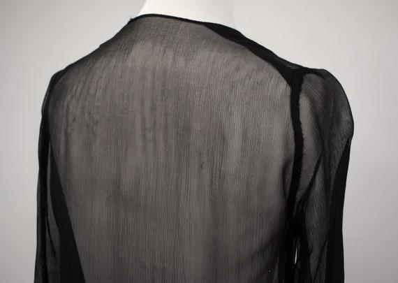 1930s Black Sheer Silk Georgette Duster Jacket //… - image 7