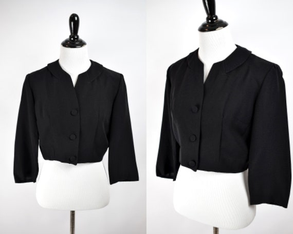1940/50s Black Cropped Jacket // 1940s 1950s Cropp