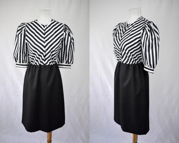1970s Striped Secretary Dress // 70s Striped
