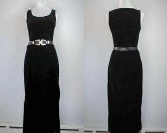 1990s Faux Suede Fitted Maxi Dress // Witchy Maxi Dress // Vintage Faux Suede Dress // Conquest USA // Black Maxi Dress // Witchy Clothing