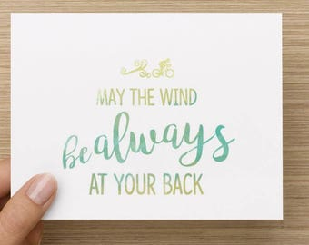 May the wind be always at your back. Hello And High Five greeting card for cyclist, encouragement, inspiration, motivation, bicycle, blank