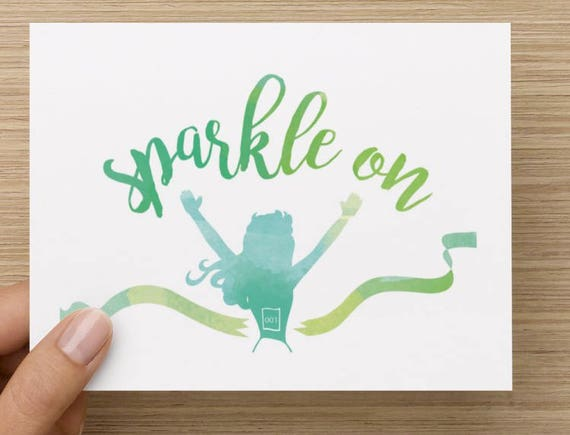 Sparkle on hello and high five greeting card for runner etsy image 0 m4hsunfo