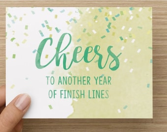 Cheers to Another Year of Finish LInes - Hello and High Five Birthday Card for Runners, running, gift, blank inside