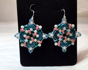 Teal, pink and white bead woven earrings
