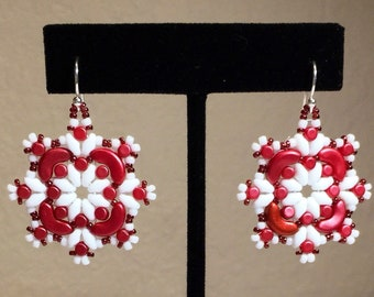Red and white bead woven earrings