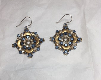Classic gold and blue woven beaded earrings
