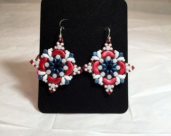 Red, white and blue bead woven earrings