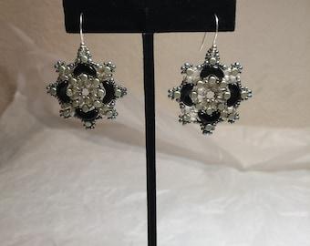 Elegant black formal bead woven earrings