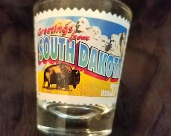 South Dakota Collectible Souvenir Post Stamp Shot Glass