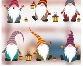 6 Colourful Scandinavian Christmas Gnomes Glass Clings Or Laptop Stickers - Scandi Nordic Tomte Nisse decorative decals