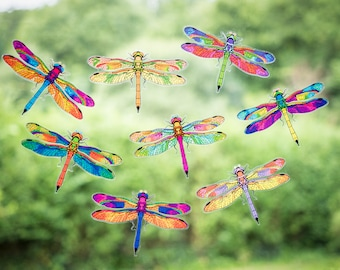 8 Beautiful Dragonfly Double-Sided Cling Window Stickers - Anti-collision window clings to help prevent bird-strikes / FREE UK DELIVERY!