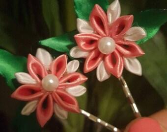 white and peachy hair pins