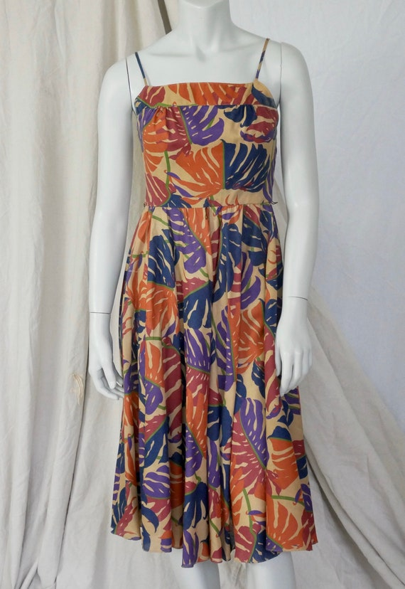 Vintage 80's Monstera Leaf Tropical Print Dress