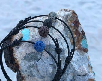 Lava Rock Bracelet Surfer Bracelet Leather Jewelry for mens Simple Mens Bracelet Leather Cord Bracelet Stone Gift for Son Gift for Teens