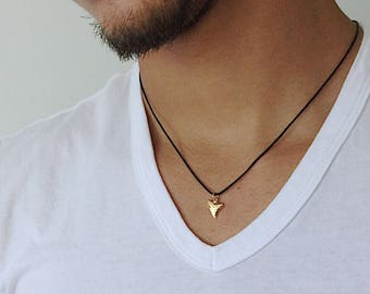 Shark Tooth Necklace Mens Gift Black Cord Necklace Gold Shark Tooth Pendant Shark Tooth Charm Surfer Necklace Surf Necklace Surf Style