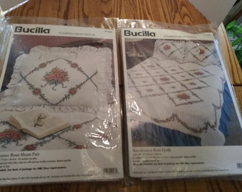 Burcilla Stamped Cross Stitch Kit renaissance rose quilt and pillow shams