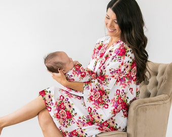 Maternity Robe,Matching Swaddle Set Sold Separately,Mommy and Me Set,Hospital Bag,Floral,Hospital Robe,Baby Shower Gift,Mama Robe,Baby Girl