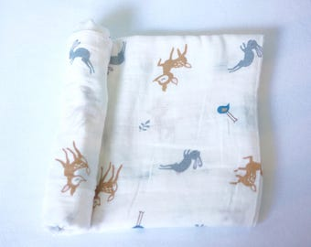 Deer Swaddle-Organic Muslin Cotton,Baby Shower Gift,Cute Baby Girl Swaddle,Newborn,Nursing/Carseat Cover,Nursery,Blanket,Hospital,Animal