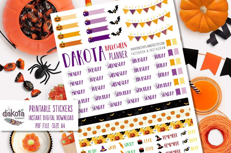 Dk Sticker Halloween For Any Planner Halloween Organization Etsy