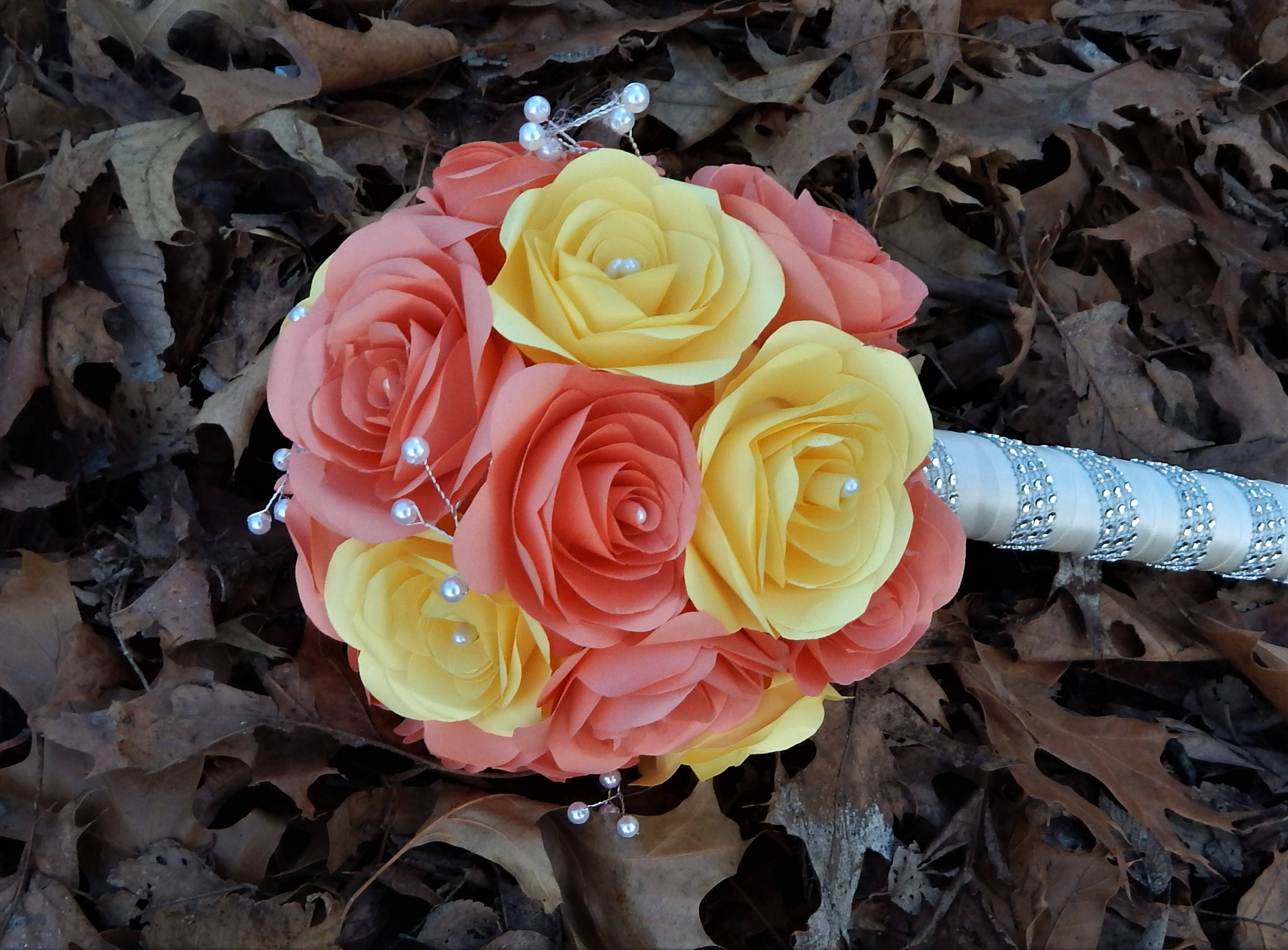 Paper Flower Bouquet Yellow Coral Wedding Bouquet Etsy