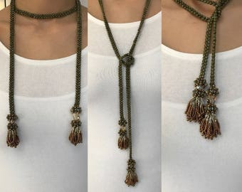 Beaded Lariat with Tassels, Swarovski Crystal Beaded Beads