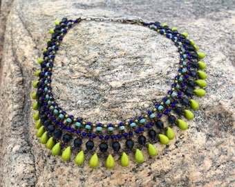 Egyptian Inspired Necklace, Beaded Collar, Ethnic collar