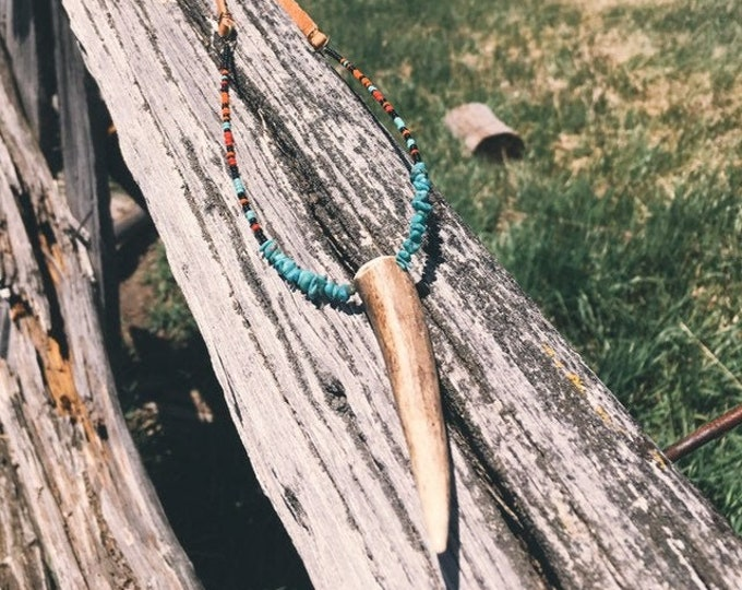 Bead + Antler Tip Leather Necklace // Handmade in Wyoming
