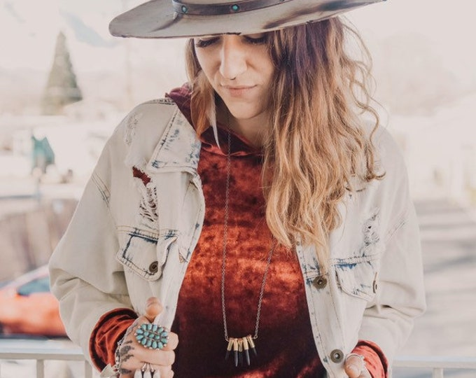 Chevron Howlite Stone + Bullet Statement Necklace // Handmade in Wyoming