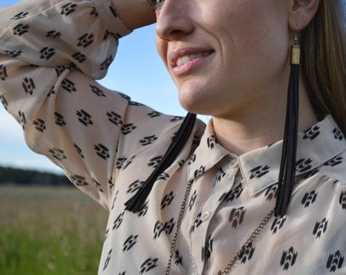Leather Fringe Earrings + Spent Bullet Shells // Handmade in Wyoming | Western | Boho Style