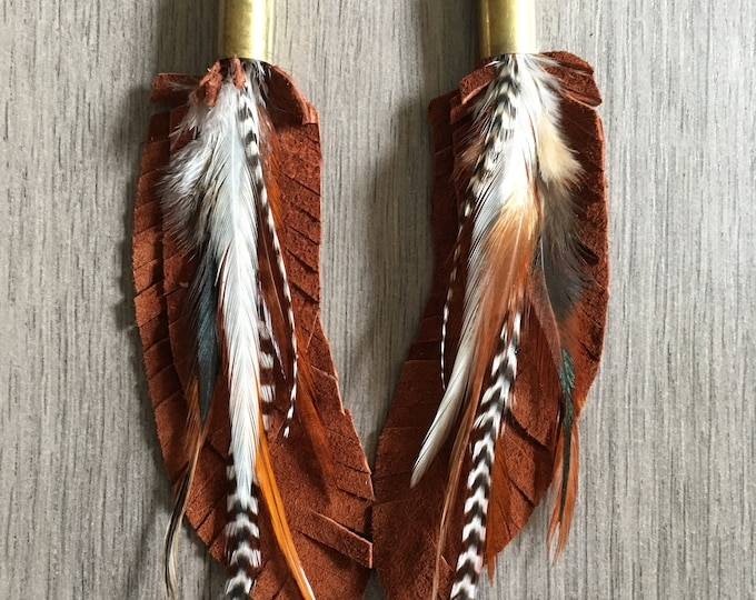 Leather + Rooster Feather Bullet Earrings // Handmade in Wyoming
