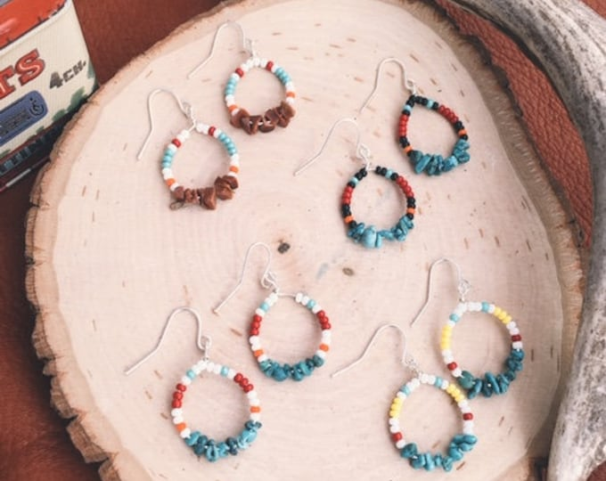 Bead + Stone Hoop Earrings // Handmade in Wyoming