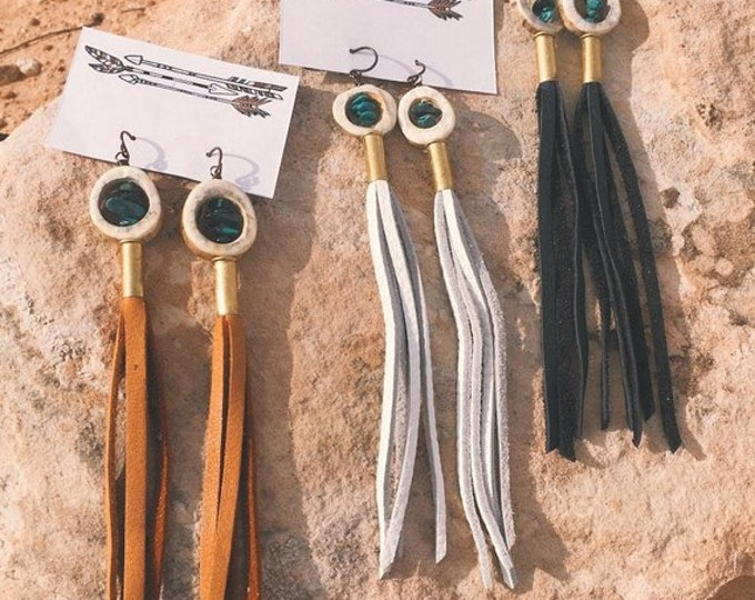 Leather Fringe, Antler Shed, Natural Gemstones, + Bullet Earrings // Handmade in Wyoming