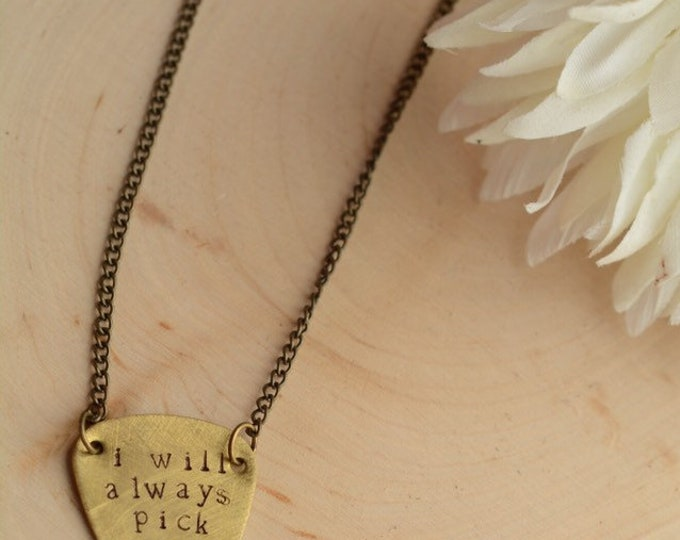 Brass Guitar Pick Necklace // Handmade in Wyoming