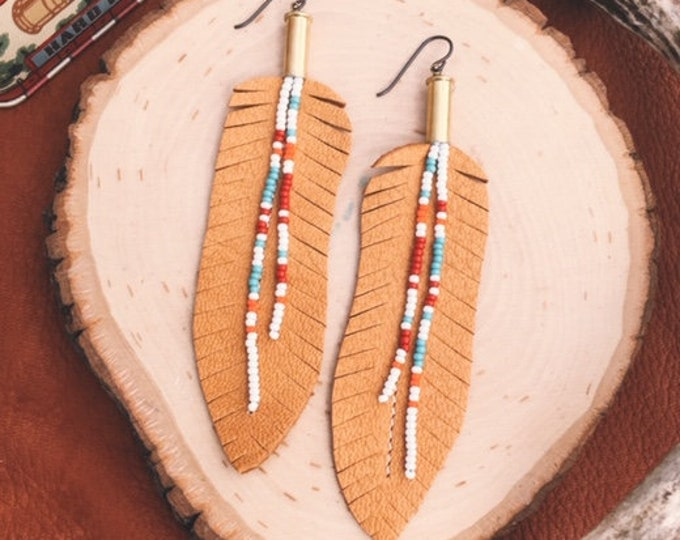 Bead + Leather Feather Bullet Earrings // Handmade in Wyoming