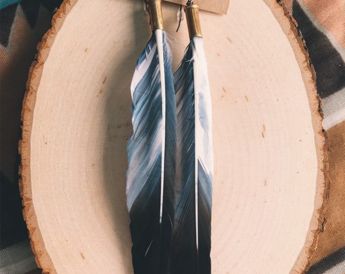 Eagle // Recycled Bullet Shell + Dyed Duck Feather Earrings // Handmade in Wyoming