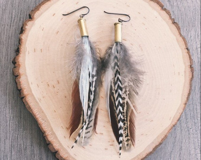 Locally Sourced Pheasant + Rooster Feather Earrings // Handmade in Wyoming