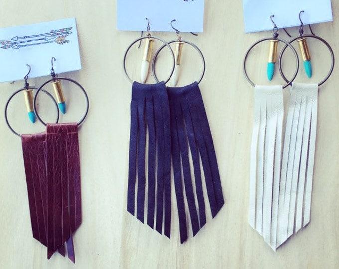 Western Hoop + Fringe Earrings // Made with spent .22 Bullet Shells | Handmade in Wyoming